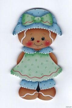HP GINGERBREAD Blue/Green Dress FRIDGE MAGNET