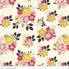 Knit Vintage Daydream by Design by Dani for Riley Blake  Cotton Knit Fabric Jersey Knit Floral Fabric Floral Jersey Fabric Pink Yellow by Owlanddrum on Etsy