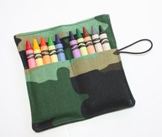 Crayon Rolls Party Favors Camouflage crayon holder by FrogBlossoms, $3.00