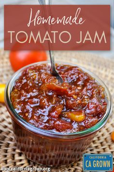 Homemade Tomato Jam Recipe || Preserve the late season harvest of fresh California grown tomatoes with this delightfully sweet and surprisingly smoky Tomato Jam. Don't worry, we'll show you how to make this easy, healthy recipe without pectin or any previous canning experience! You won't believe all the great ways to use this - on eggs, toast, sandwiches, and even in guacamole! Add a dollop on top of a slice of pizza or a slab of steak! #californiagrown #preserves #jam #tomato #condiments Meat Appetizers, Appetizer Recipes, Appetizers For Party, Quiche Recipes, Fresh Tomato Recipes, Canned Tomato Jam Recipe, Tomato Canning Recipes, Canning Tips, Guacamole