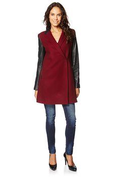 f5c0879ccf Venda Sinéquanone Mode Femme   14195   Casacos e sobretudos   Sobretudos    Sobretudo de lã e couro Preto e bordô. 110e