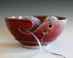 Large Red Yarn Bowl knitting bowl handmade ceramic by ocpottery, 36.00
