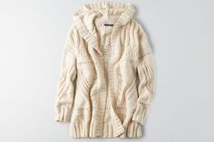 AEO Hooded Pointelle Cardigan  by  American Eagle Outfitters | Warm up to cooler weather with a new collection of this season's essentials – featuring our coziest sweaters yet, in rich hues and soft textures. Shop the AEO Hooded Pointelle Cardigan  and check out more at AE.com.