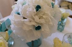 White Peonies with Tiffany paper flowers....by Lily and Lace....