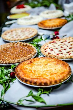 Pie Buffet: Apple,lattice, lemon meringue, along with tarts and fruit bars. Make your own pies or purchase Pie Bar Wedding, Wedding Food Menu, Diy Wedding Cake, Reception Food, Wedding Desserts, Dream Wedding, Wedding Ideas, Rustic Wedding, Wedding Vintage