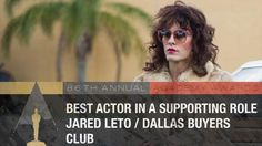Congrats LETO for winning Best Supporting Actor (Dallas Buyers Club) via Academy Dallas Buyers Club, Cool Things To Make, Good Things, Oscars 2014, 12 Years A Slave, Best Supporting Actor, Oscar Winners, Academy Awards, Jared Leto