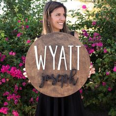 """18"""" Round Custom Wood Name Sign 