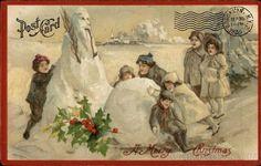 Vintage Christmas postcard graphic