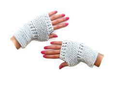 Gray fingerless Gloves women knit gloves mittens  by senoAccessory, $20.00