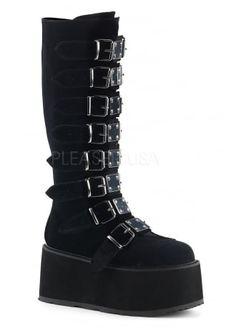 Damned 318 Velvet Knee High Gothic Platform Boot