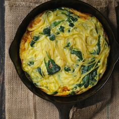 Spinach and Spaghetti Omelette   Make with spiralized zucchini or butternut squash