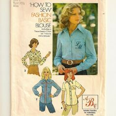 A Classic Shirt Pattern with Monogram Embroidery Transfer, Vintage 1975