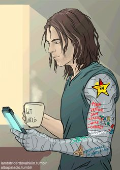 "sleepy-relaxed Bucky - I love the shopping list. Just think of Tony's reaction to seeing the cyborg arm! ""Can I remake it for you, Bucky? Pleeeeaaaassse!!"" Steve: ""Not now. And you need to- Tony! The Winter Soldier's arm can't be used as a minibar!"""