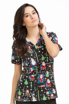 "Med Couture Peaches Anna Print Top in ""'Tis The Season"" from Med Couture Scrubs"