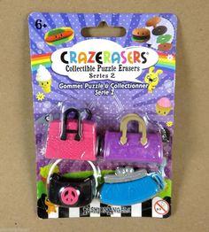 CRAZERASERS PURSES HANDBAGS Series 2 Erasers COLLECTIBLE Puzzle Fashion NEW