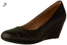 Clarks Women's Brielle Tacha Wedge Pump, Black Leather, 9.5 M US - Clarks pumps for women (*Amazon Partner-Link)