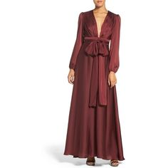 Women's Jill Jill Stuart Charmeuse Fit & Flare Gown ($398) ❤ liked on Polyvore featuring dresses, gowns, oxblood, oxblood dress, red ruched dress, fit flare dress, shirred dress and ruched dress
