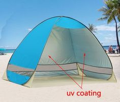 1-2 People tent/awning/sun shade 1 second open pop up automatic tent easy to fold, retractable, easy to carry good for camping, hiking, fishing, beach relaxing Kids beach playing room Size:200cm*120 c