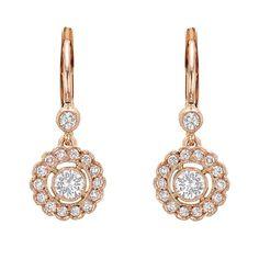Pink Gold & Diamond Cluster Short Drop Earrings OFFERED BY BETTERIDGE