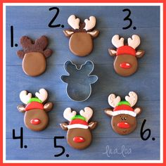 Reindeer decorated sugar cookies for Christmas and winter - a cookie decorating tutorial. Christmas Sugar Cookies, Christmas Desserts, Christmas Treats, Christmas Baking, Candy Cane Cookies, Iced Cookies, Cookies Et Biscuits, Sugar Cookie Icing, Royal Icing Cookies