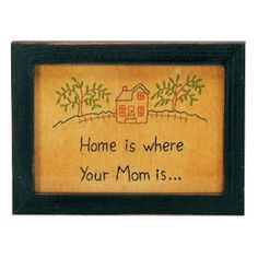 Home Is Where Your Mom Is-Hand Stitched And Framed Under Glass-By Primitives By Kathy-Perfect Gift For Mothers