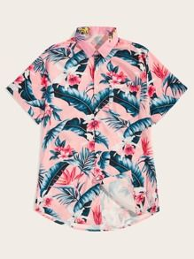 Product name: Men Tropical & Floral Print Hawaiian Shirt at SHEIN, Category: Men Shirts Floral Print Shirt, Hawaiian Print, Summer Shirts, Fashion News, T Shirts, Mens Printed Shirts, Mens Tops, How To Wear, Outfits