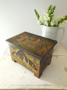 Rare antique Huntley and Palmer tin. 1911 Russian by EmmaAtLHV