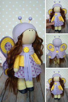 Textile doll Rag doll Butterfly doll Tilda doll Cloth doll Handmade doll Muñecas Art doll Fabric doll Baby doll Violet doll Bonita by Olga G