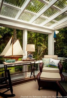 """clear roof was substituted for a regular one on a sunroom.  That picture directed us to Home Depot where they sold poly-carbonate corrugated roofing panels."""""""