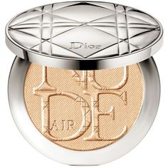 Dior Diorskin Nude Air Luminizer Powder ($56) ❤ liked on Polyvore featuring beauty products, makeup, face makeup, face powder, golden glow, mineral face powder, eyeshadow brushes, shadow brush, eye shadow brush and christian dior