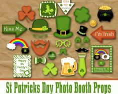 These fun St Patricks Day Photo Booth Props and Decorations are great for a class party. All you do is print them out on cardstock, cut them out, tape or glue long sticks to them and you are ready to go! Great for a classroom St. St Patricks Day Food, Happy St Patricks Day, Fete Saint Patrick, St Patrick's Day Photos, Happy St Paddys Day, Stag And Doe, St Patrick's Day Decorations, St Patrick's Day Crafts, Fun Crafts