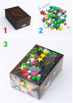 Les coller sur du scotch      Glisser une poignée de confettis entre votre papier cadeau et une feuille de cellophane ou autre plastique transparent   Les coller directement sur le paquet avec de
