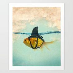 Brilliant Disguise - Goldfish With A Shark Fin Framed Mini Art Print by Vin Zzep - White - x Framed Art Prints, Fine Art Prints, Canvas Prints, Disguise Art, Popular Art, Funny Art, Goldfish, Artwork, Illustration Art