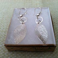 Silver Earrings w/Feather