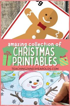 Here are over 32 different fun, free Christmas printables that you can use with your toddlers and preschoolers. Perfect when you need to put together a quick activity! #Christmas #printables #activities #holidays #learning #toddlers #preschool #age2 #age3 #teaching2and3yearolds