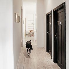Black doors in a white hallway. Dark Interiors, Shop Interiors, Colorful Interiors, Black Trim Interior, Berlin Apartment, Dark Doors, Shabby Chic Stil, Internal Doors, Interior Design Living Room