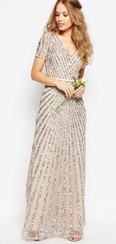 Gorgeous sequin maxi dress | Sequin bridesmaid dresses