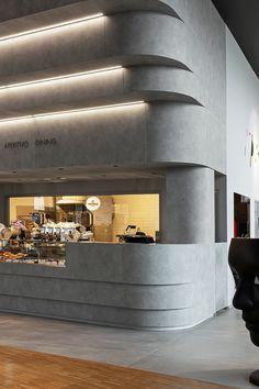 Fabio Novembre Chooses HI-MACS® for the Design of Heinz Beck's New Restaurant in CityLife Restaurant Interior Design, Cafe Interior, Interior Exterior, Interior Architecture, Design Commercial, Commercial Interiors, Coffee Shop Design, Cafe Design, Counter Design