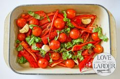 Roasted Sweet Pointed Peppers, Tomatoes, Garlic and Basil.