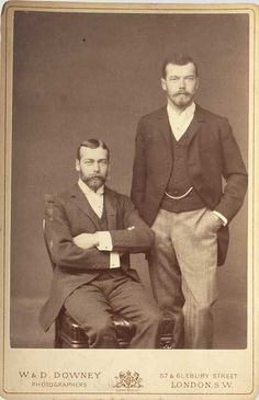 Tsarevich Nicholas Alexandrovich and cousin Prince George of England. 1893