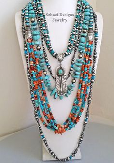 Schaef Designs blue turquoise & spiny oyster necklaces withspirit  feather pendant