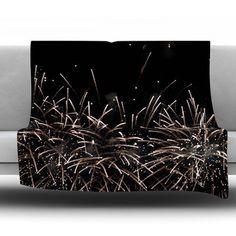 "East Urban Home Fireworks by Catherine McDonald Fleece Throw Blanket Size: 40"" L x 30"" W"