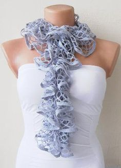 Grey Lace Shades Funky Scarf by fairstore on Etsy