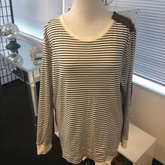 Ralph Lauren Striped Top LRL Lauren Jeans Co. Top!! Off white w/ dark navy stripes. Brown suede elbow patches and zipper accent on left shoulder. Great condition. Worn only twice. 100% cotton Ralph Lauren Tops Tees - Long Sleeve