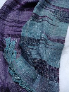 clasped-weft weaving with rayon, cotton and tencel warp and merino wool weft