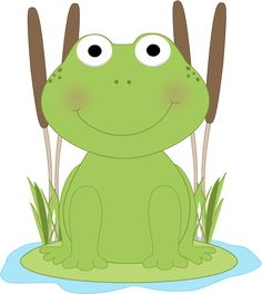 frog clip art | Frog in a Pond Clip Art Image - cute frog sitting on a lily pad in a ...
