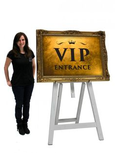 VIP Entrance Sign (Gold on White Easel) | Hollywood Party Theme | Hollywood Party Theming Hire | Event Prop Hire