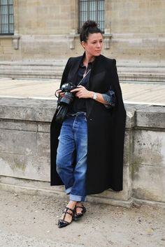 Garance Dore in a black cape and studded Valentino pointed flats // #StreetStyle