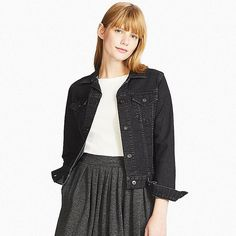 WOMEN DENIM JACKET, DARK GRAY, large