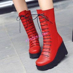 Womens Lace Up Wedge High Heels Mid Calf Boots Platform Shoes Round Toe Ch